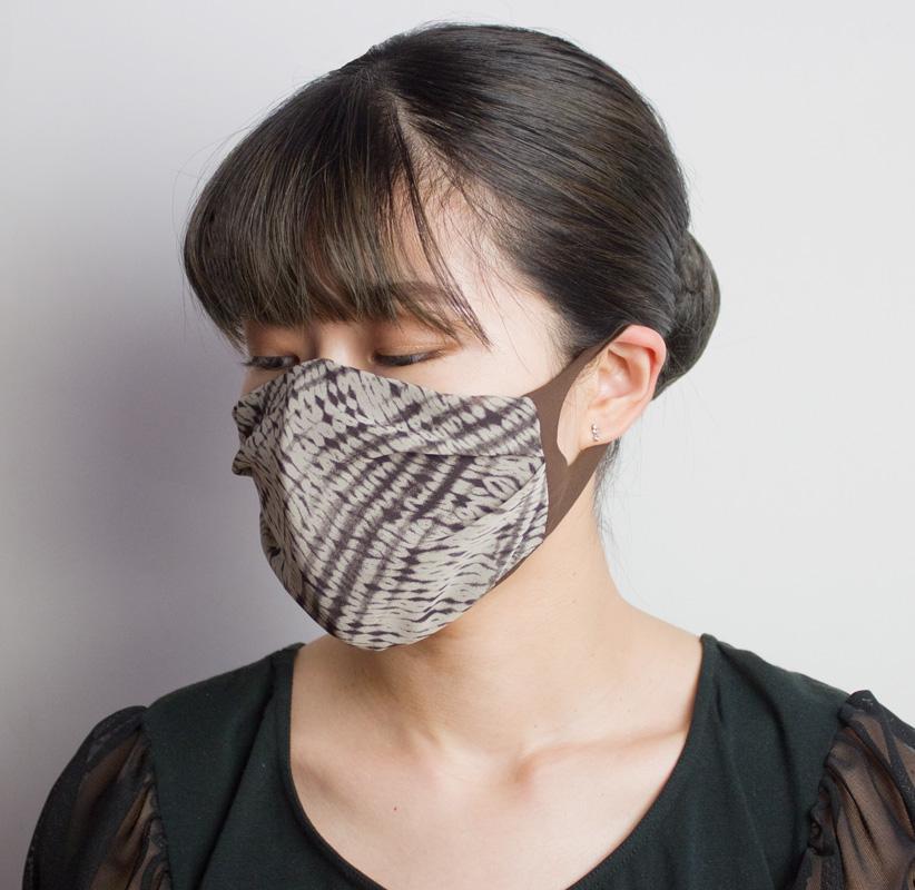 おしゃれ布マスク07 (アニマルプリントシフォン)【日本製】 UVカット