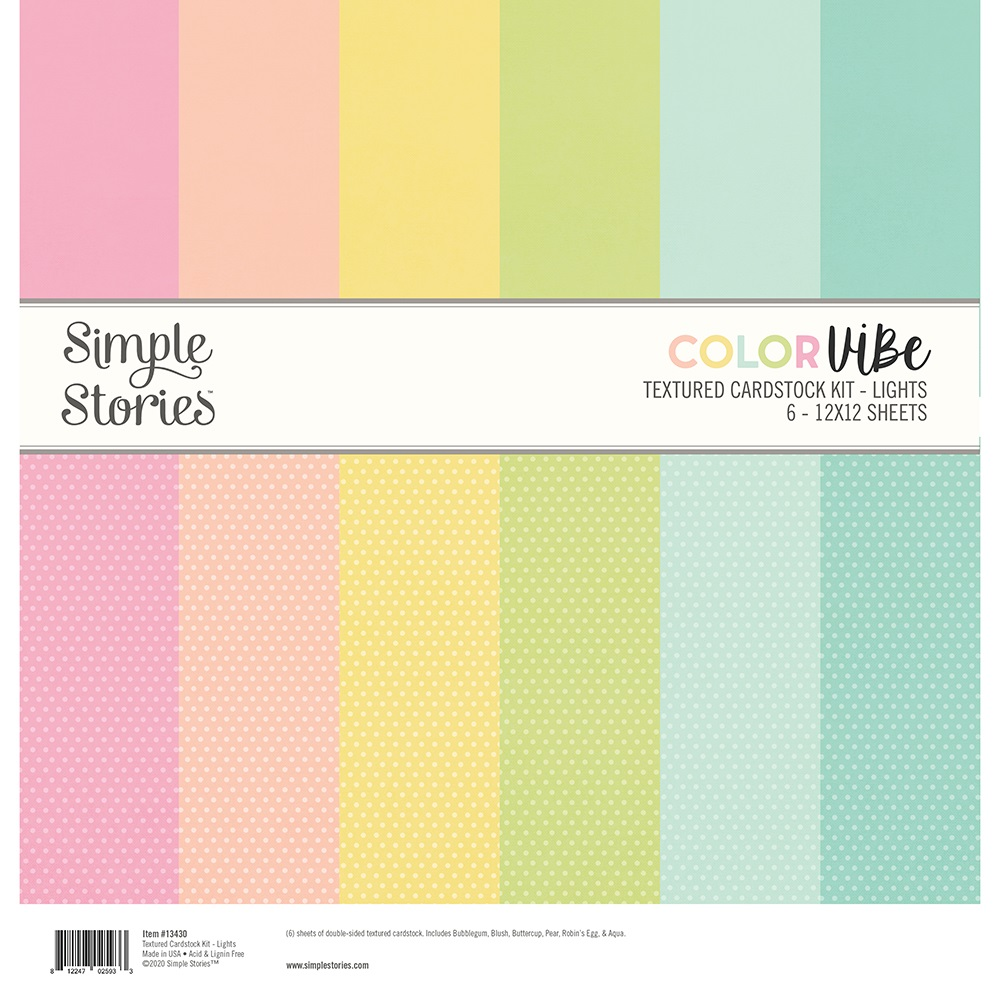Simple Stories Color Vibe Paper Pack 12×12 - 13430 Lights