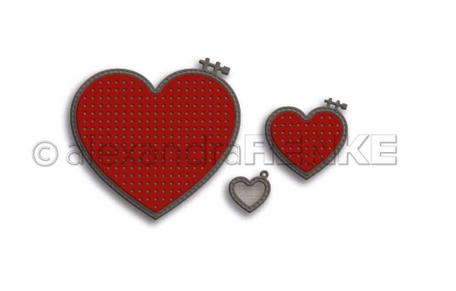 Alexandra Renke Die - D-AR-Hz0023 Small hearts embroidery hoop set