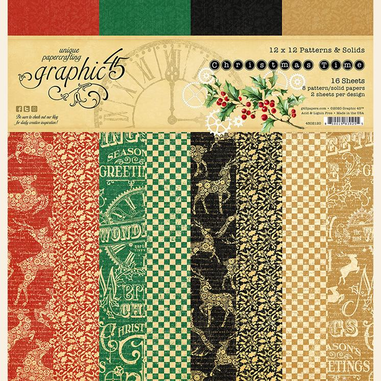 Graphic 45 4502120 Christmas Time - Patterns & Solids Pad 12x12