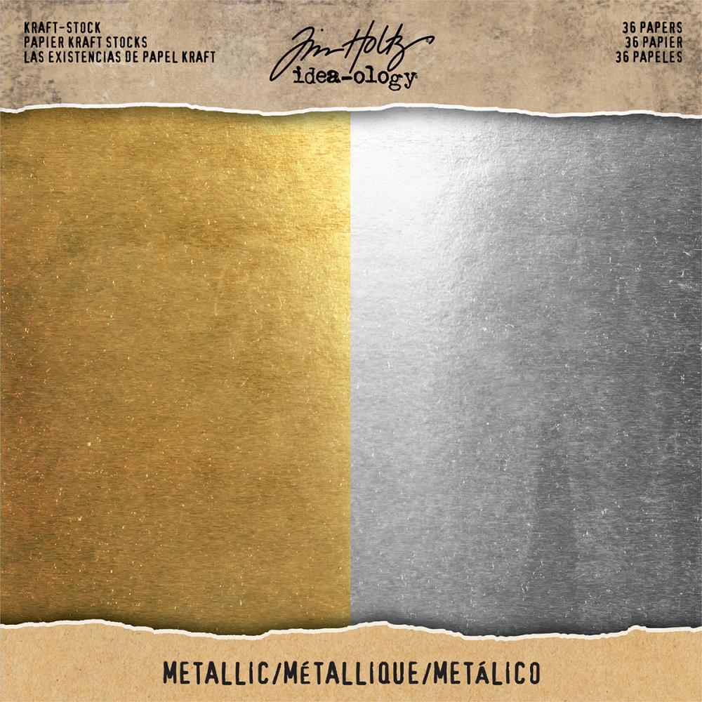 Tim Holtz  Idea-Ology - TH93586 Kraft-Stock Paper Pad 8×8 Metallic Gold & Silver