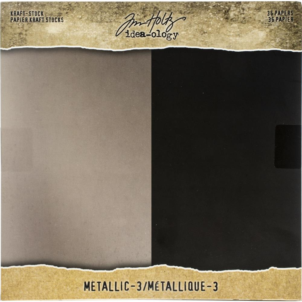 Tim Holtz  Idea-Ology - TH94021 Kraft-Stock Paper Pad 8×8 Metallic 3
