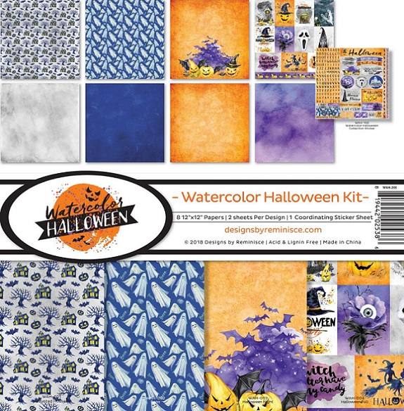 Reminisce Ella & Viv Collection Kit 12×12 - WAH200 Watercolor Halloween