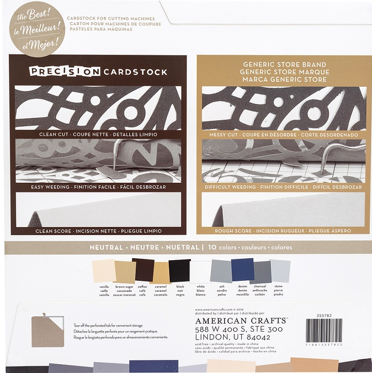 American Crafts Precision Cardstock Pack 12×12 - 355782 Neutral - Smooth