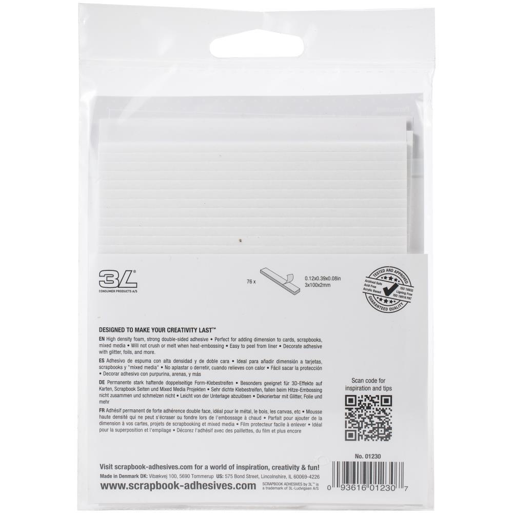 Scrapbook Adhesives - 1230 3D Foam Strips -  White
