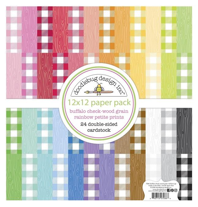 Doodlebug 12×12 - 7086 Petite Prints Buffalo Check-Wood Grain Rainbow