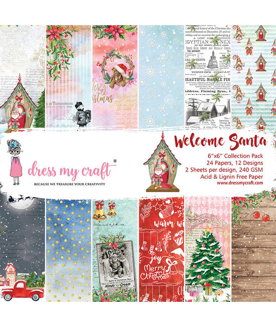Dress My Craft 6inch Paper Pad - DMCP2894 Welcome Santa