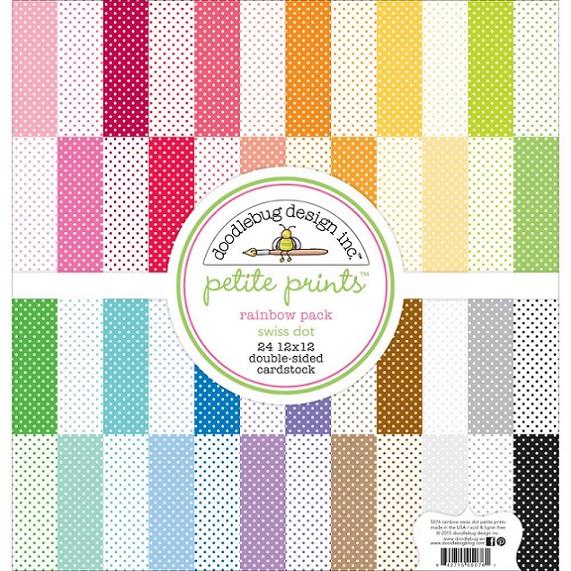 Doodlebug 12×12 - 5076 Petite Prints Paper Pack Swiss Dot Rainbow