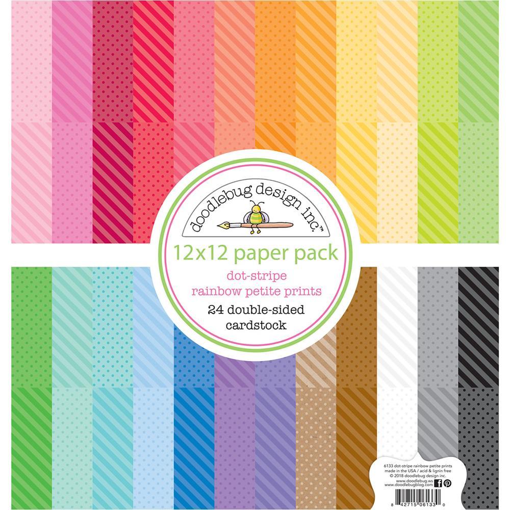 Doodlebug 12×12 - 6133 Petite Prints Paper Pack Dot-Stripe Rainbow