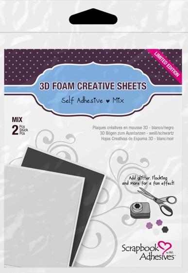 Scrapbook Adhesives - 1223 3D Foam Creative Sheets - Black & White