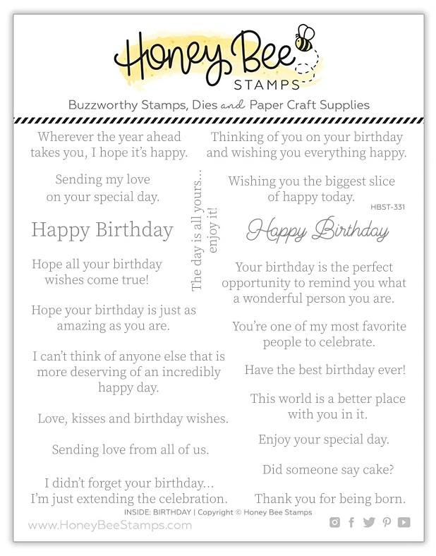 Honey Bee Stamps - Stamps Inside: Birthday Sentiments
