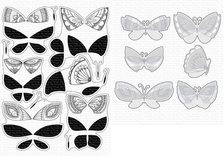 Die-namics - MFT-1738+CS-477 Brilliant Butterflies スタンプ&ダイセット♪