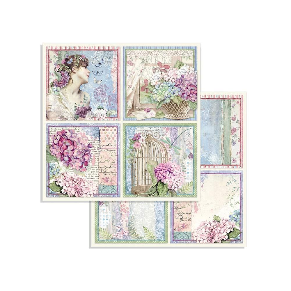 Stamperia Paper Pad 8×8 - SBBS15 Hortensia