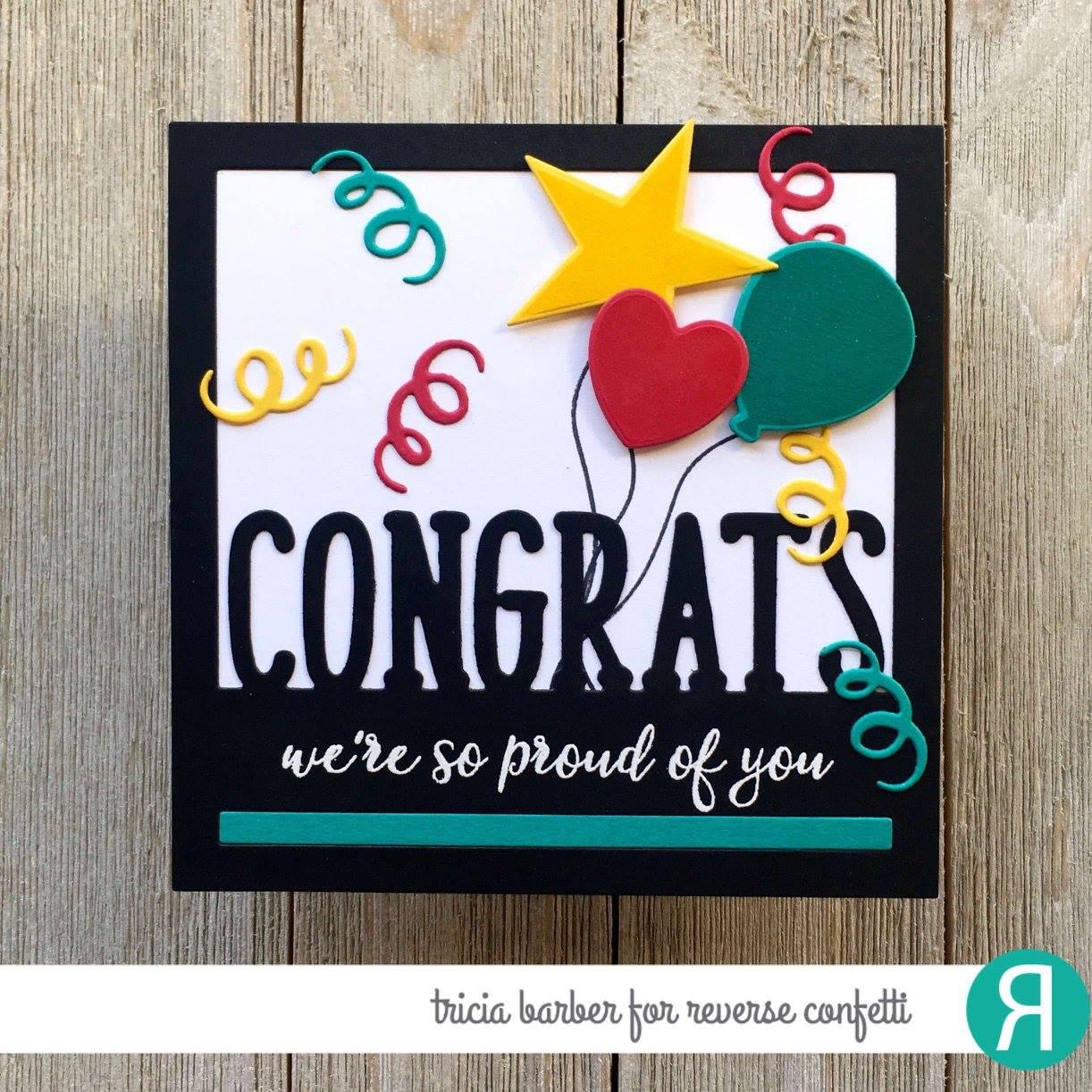Reverse Confetti Clear Stamp - Congratulations