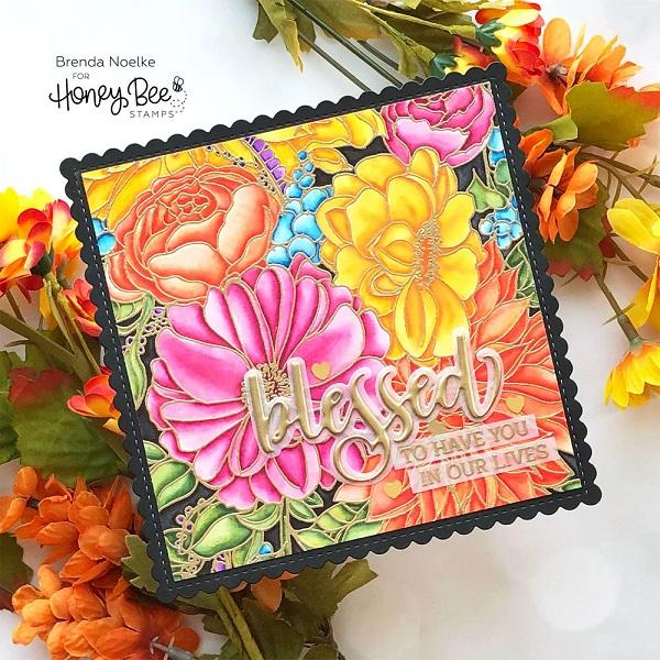 Honey Bee Stamps - Stamps Harvest Blooms Background