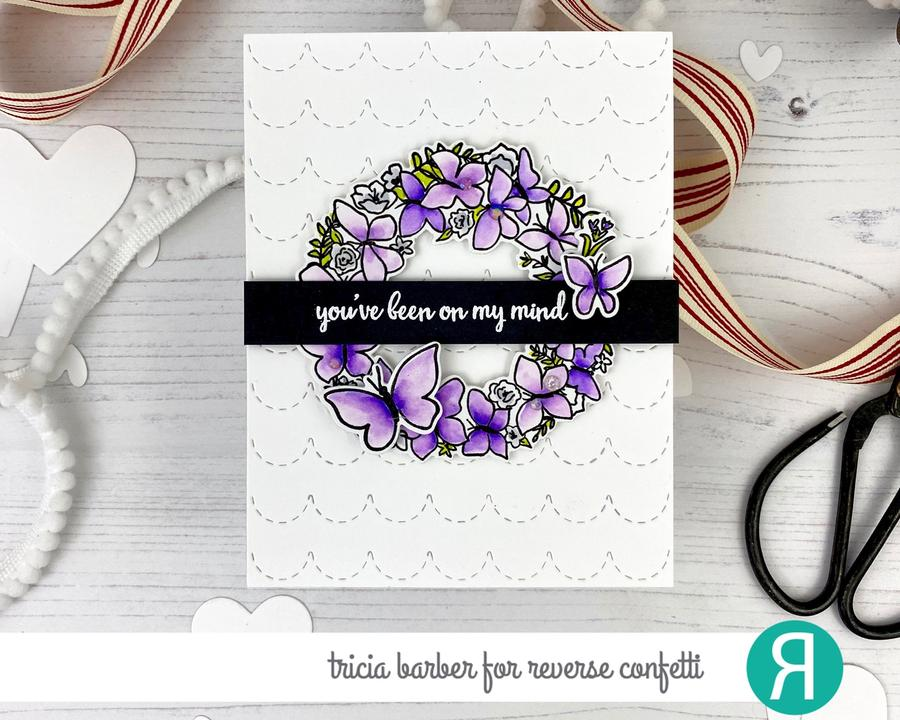 Reverse Confetti Clear Stamp - Butterfly Wreath
