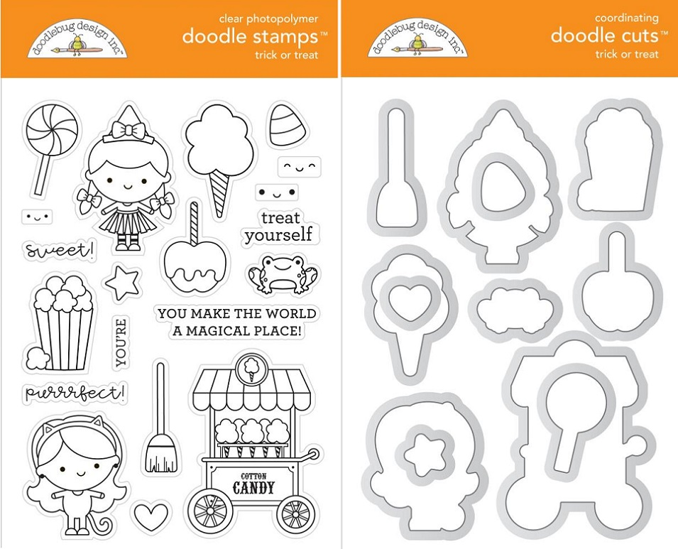 Doodlebug Clear Stamps & Die セット - 6473+6474 Candy Carnival Trick Or Treat