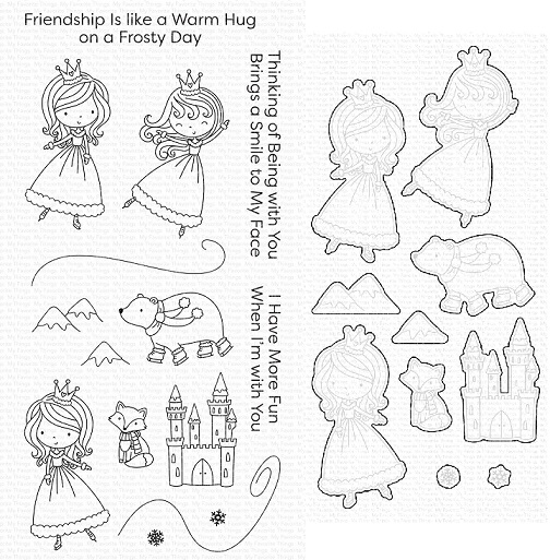 Die-namics - MFT-1851+CS-509 Ice Princess and Friends スタンプ&ダイセット♪