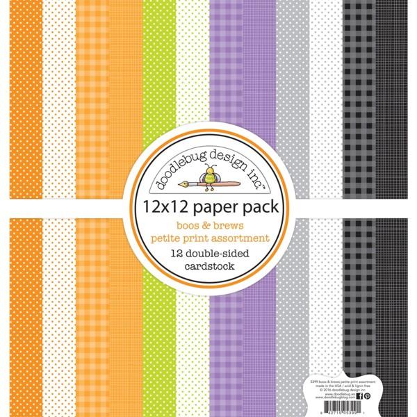 Doodlebug 12×12 - 5399 Petite Prints Paper Pack Boos & Brews