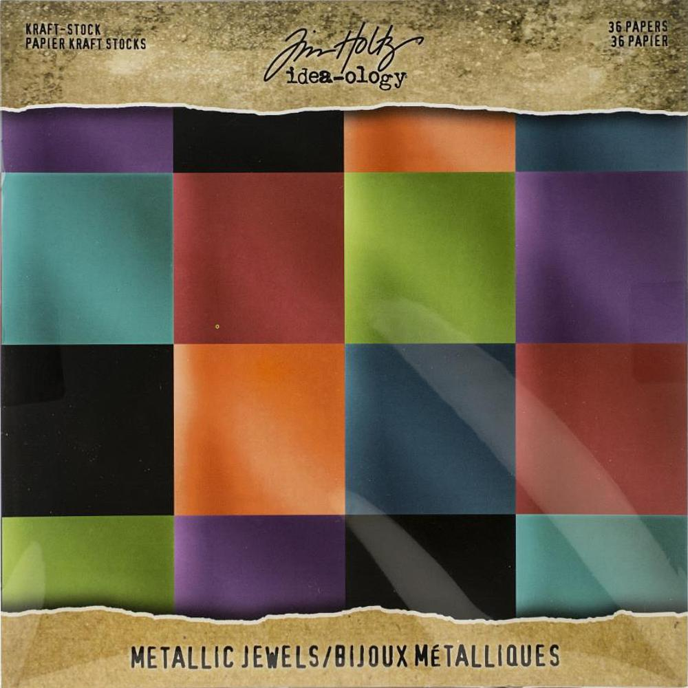Tim Holtz  Idea-Ology - TH93781 Kraft-Stock Paper Pad 8×8 Metallic Jewels