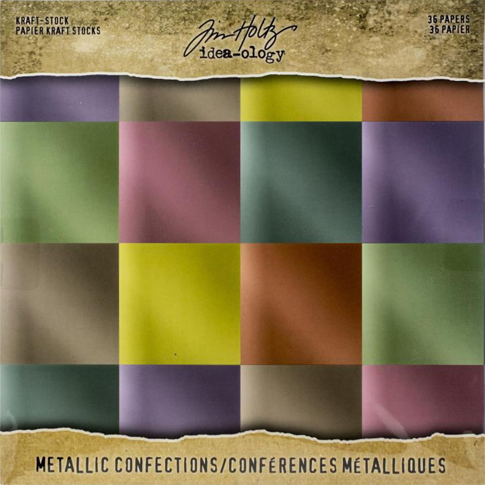 Tim Holtz  Idea-Ology - TH93784 Kraft-Stock Paper Pad 8×8 Metallic Confections