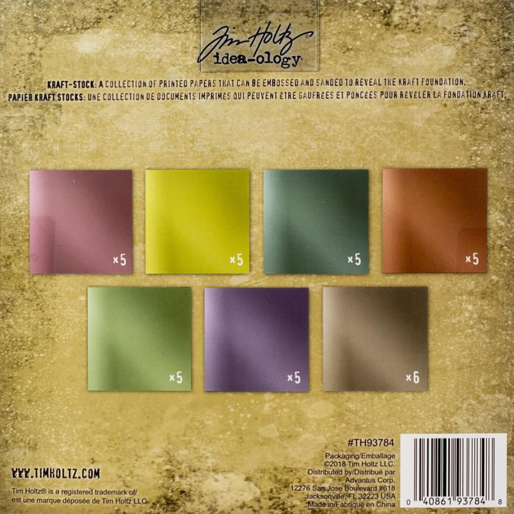 Tim Holtz  Idea-Ology - TH93784 Kraft-Stock Paper Pad 8×8 Metallic Confections