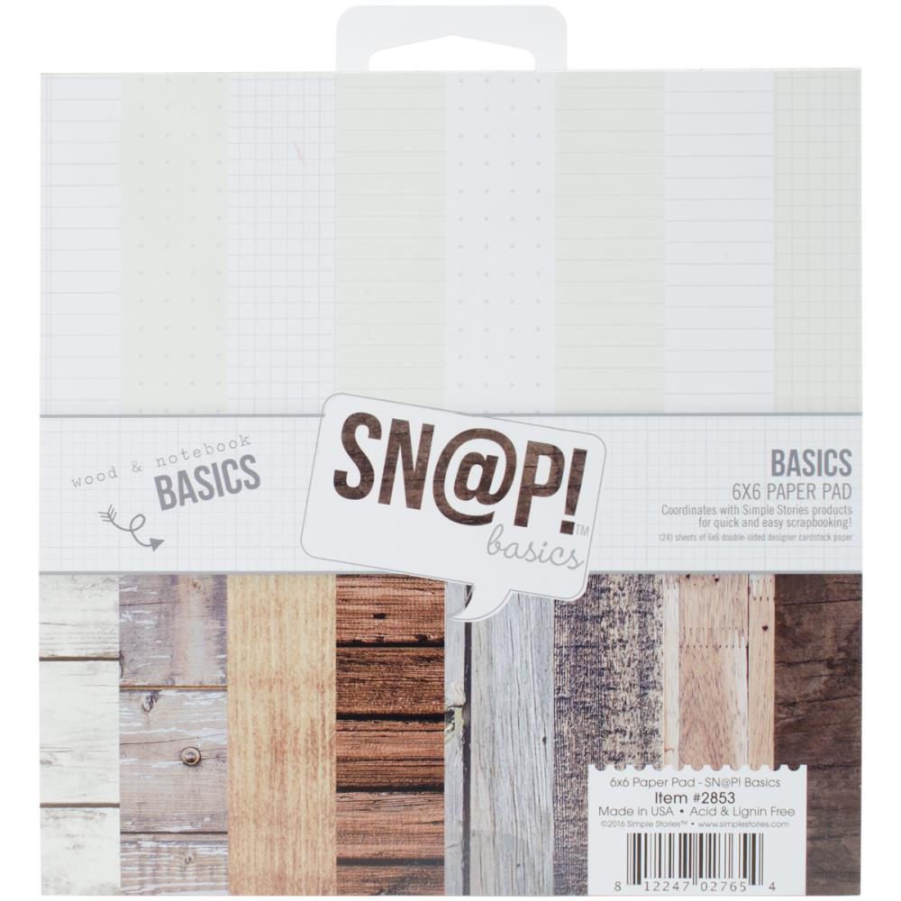 Simple Stories Paper Pad 6×6 - 2853 Sn@p! Color Vibe Basics Wood & Notebook