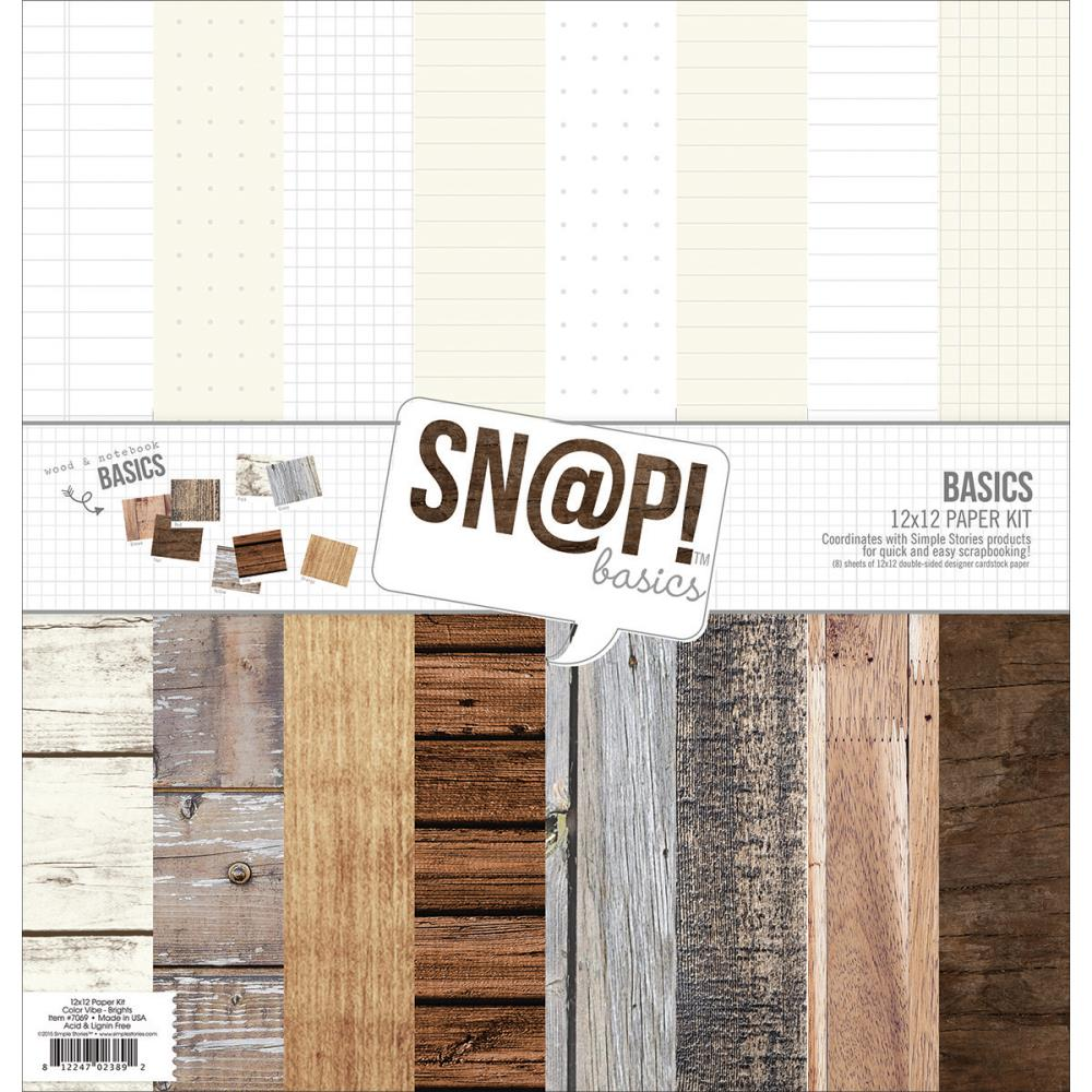 Simple Stories Paper Pad 12×12 - 2844 Sn@p! Color Vibe Basics Wood & Notebook