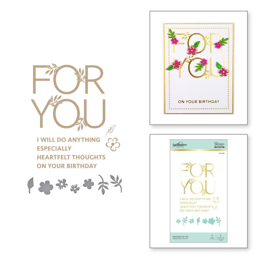 Spellbinders Glimmer Hot Foil Plates + Die - GLP-168 Especially For You