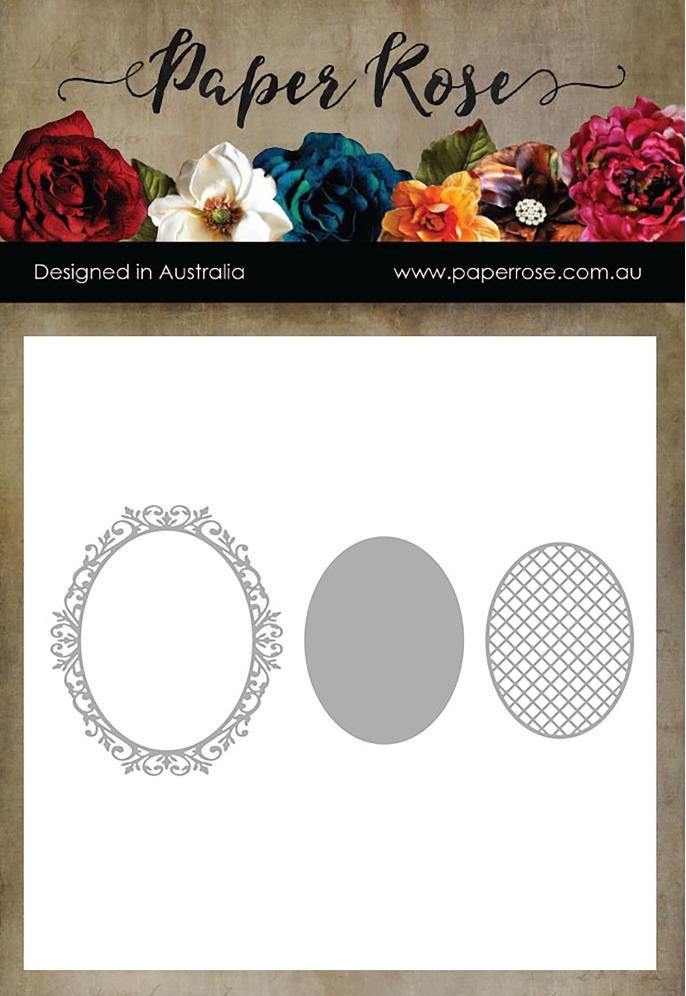Paper Rose Dies - 16826 Victorian Oval Lattice Frame