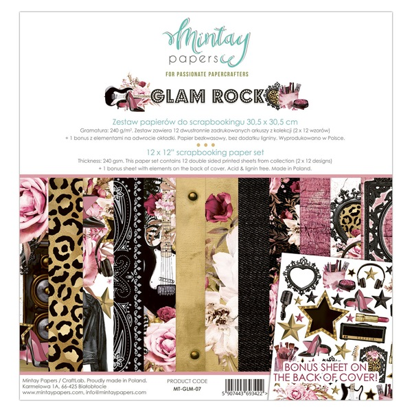 Mintay 12 x 12 Paper Set - MT-GLM-07  Glam Rock