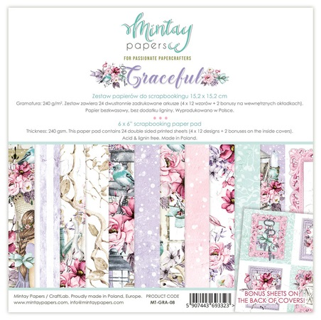 Mintay 6 x 6 Paper Set - MT-GRA-08 Graceful