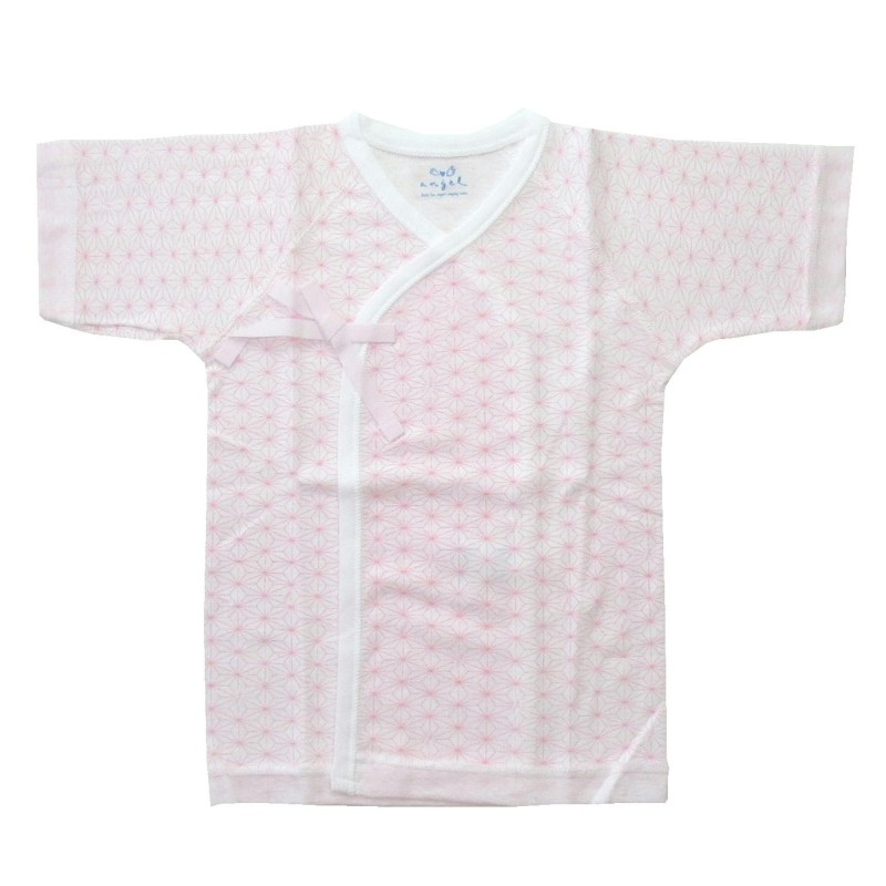 麻の葉柄プリント短肌着(ピンク)