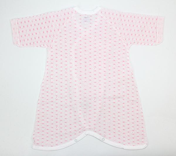 麻の葉柄プリントコンビ肌着(ピンク)