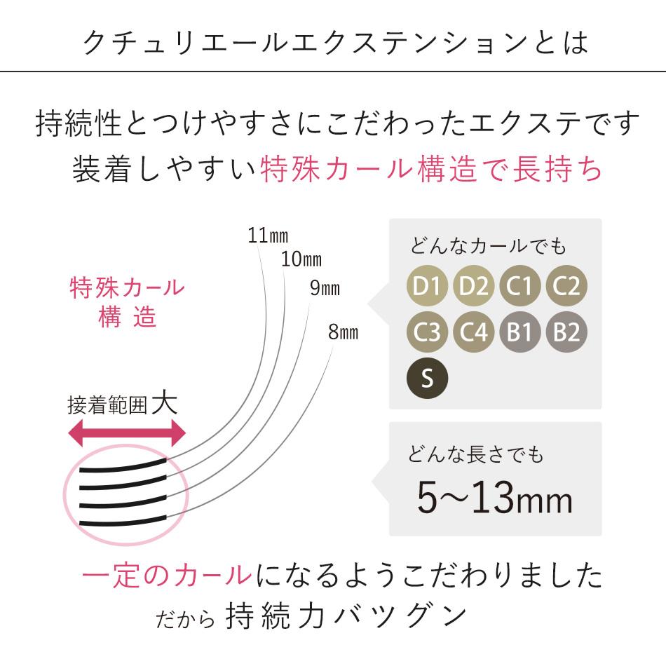 クチュリエール Sカール 下まつげ(下まつ毛) 1列×2個と日本製 超低刺激グルー3mLのキット 【メール便無料】