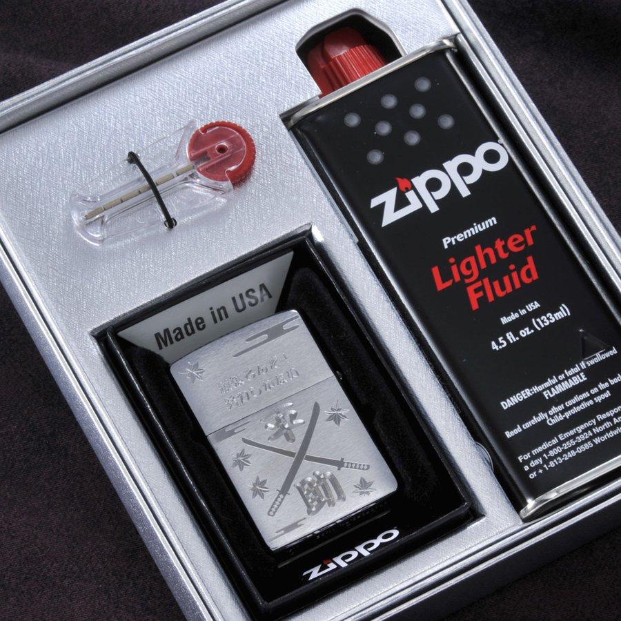 名入れ 鬼退治 和柄 ライター ZIPPO200オイルギフトセット