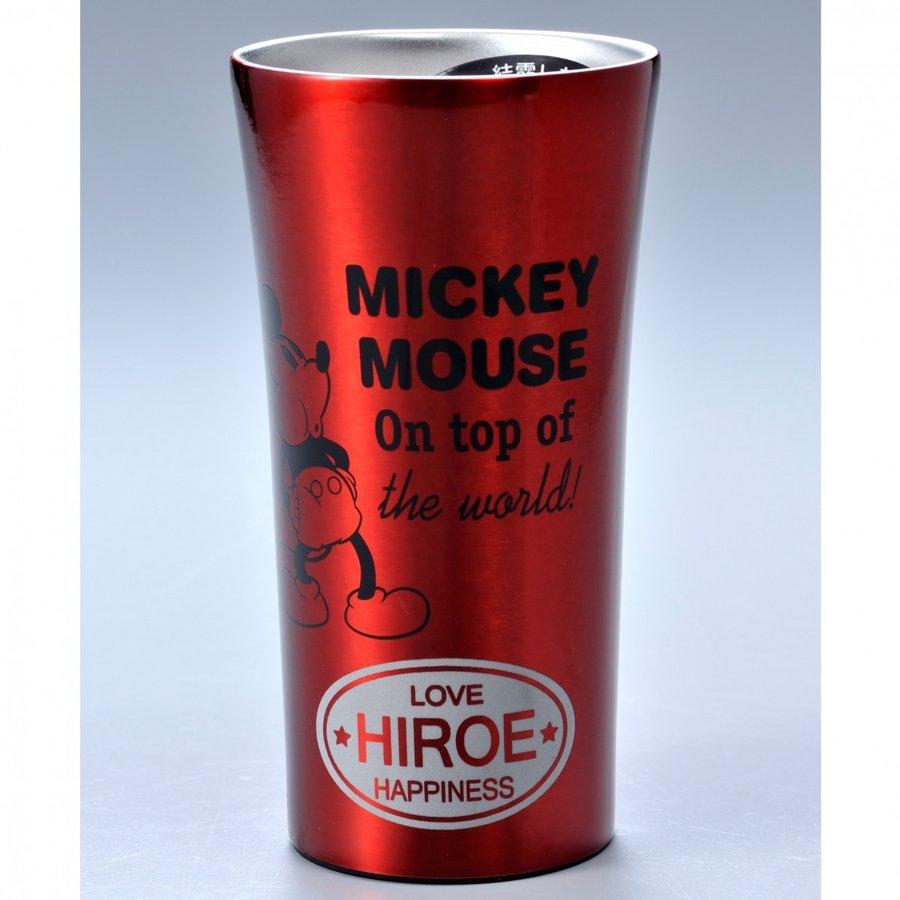 名入れ ミッキー チアフル断熱ステンレス2層タンブラー300ml