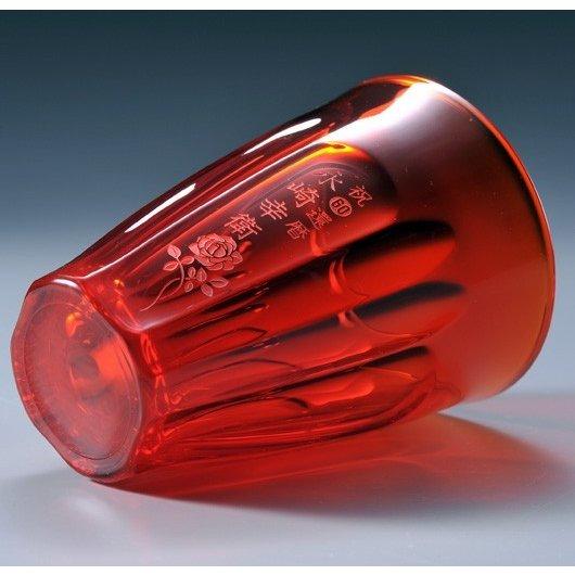 名入れ ラインガラス タンブラーレッド 320ml