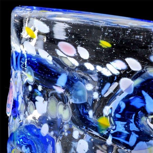 名入れ 琉球ガラス 多彩マーブル ロックグラス 単品