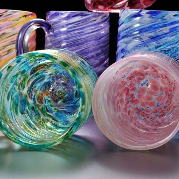 名入れ 琉球ガラス マーブル ビアジョッキペアセット