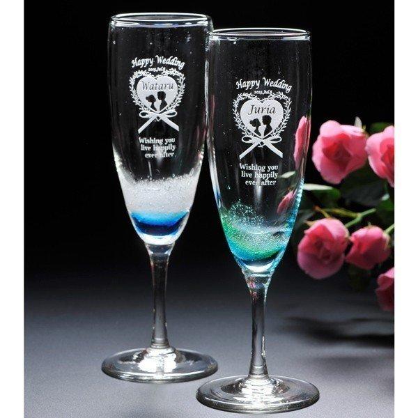 入荷待ち 名入れ 琉球潮騒 シャンパングラスペアセット 獺祭純米大吟醸スパークリング720ml