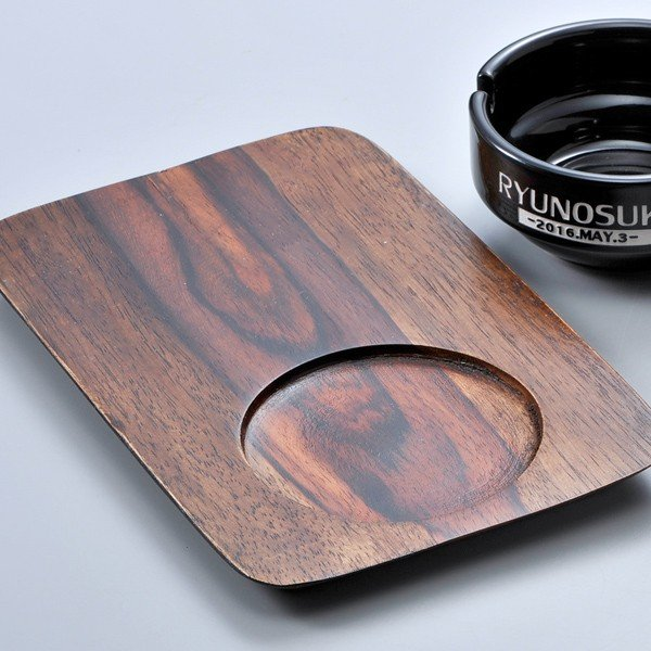 名入れ ブラック 灰皿 マグカップ 木製トレイ3点セット