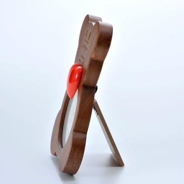 名入れ 木製ベアフォトフレーム ハートチャーム付
