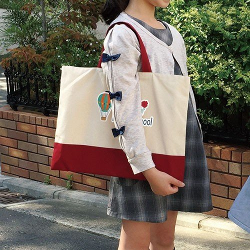 名入れ 多目的巾着袋おそろい3点セット 赤xコットン