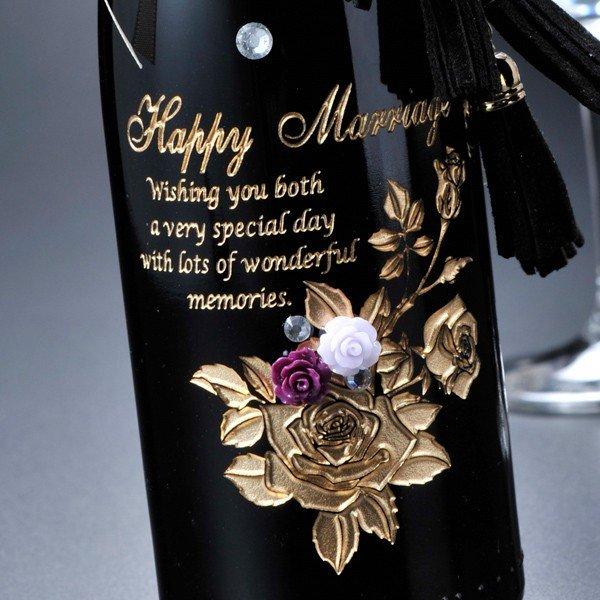 名入れ ハーフワインボトル バラ仕立て豪華チャームセット