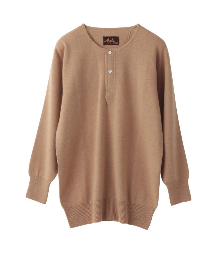 カシミヤシリーズ(ホールガーメント)ボタン付シャツ100%