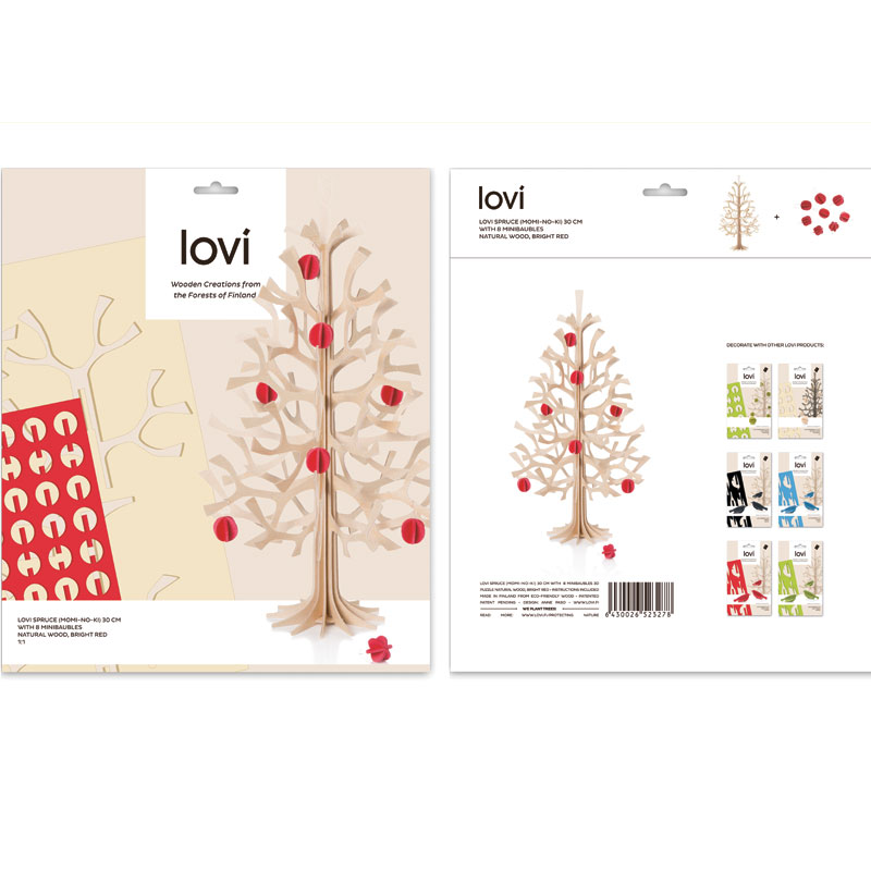 Lovi (ロヴィ)  / Momi-no-ki 30cm ミニボールBTRD セット/ミニツリー/クリスマスツリー/クリスマス/ツリー/北欧/フィンランド/軽量/ギフト/プレゼント/白樺/moninoki