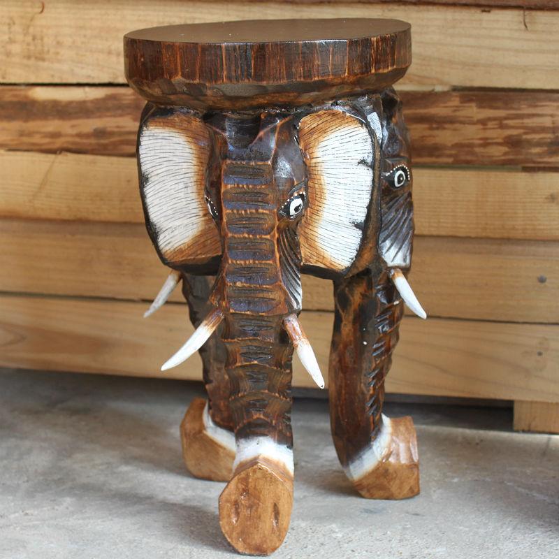 木彫りの3頭の象の花台L