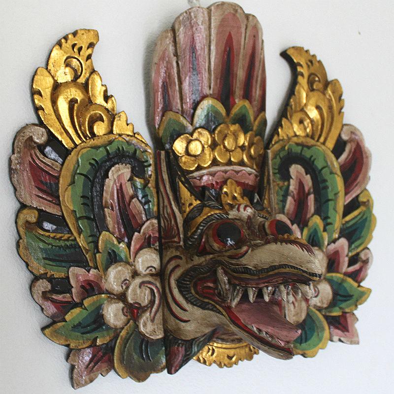 木彫りの仮面・壁掛けガルーダ ウォールデコレーション