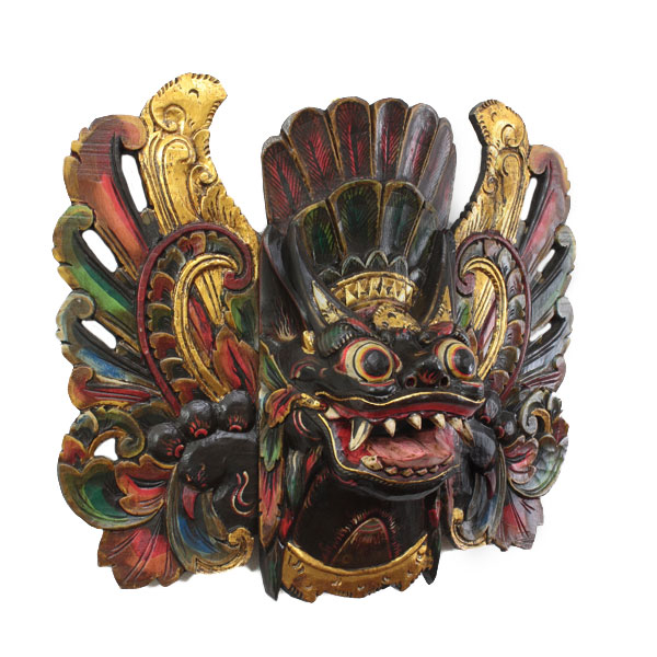 1品限定!!バリ島 木彫りのお面・壁掛け 特大バロン(聖獣) 黒